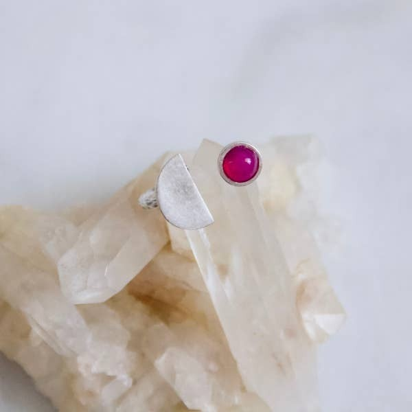 Rani Chalcedony Stone Half Moon Ring - Silver