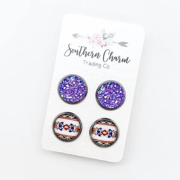 Purple Sparkles & Floral Duo