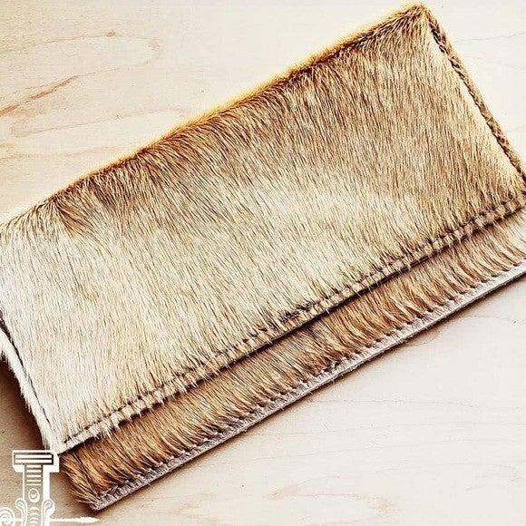 Hair-on-hide Leather Wallet-Light Brindle