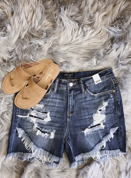 Judy Blue Distressed Layered Shorts