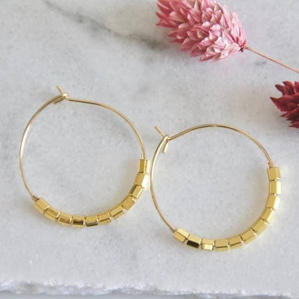 Minimal Gold Bead Hoop Earrings