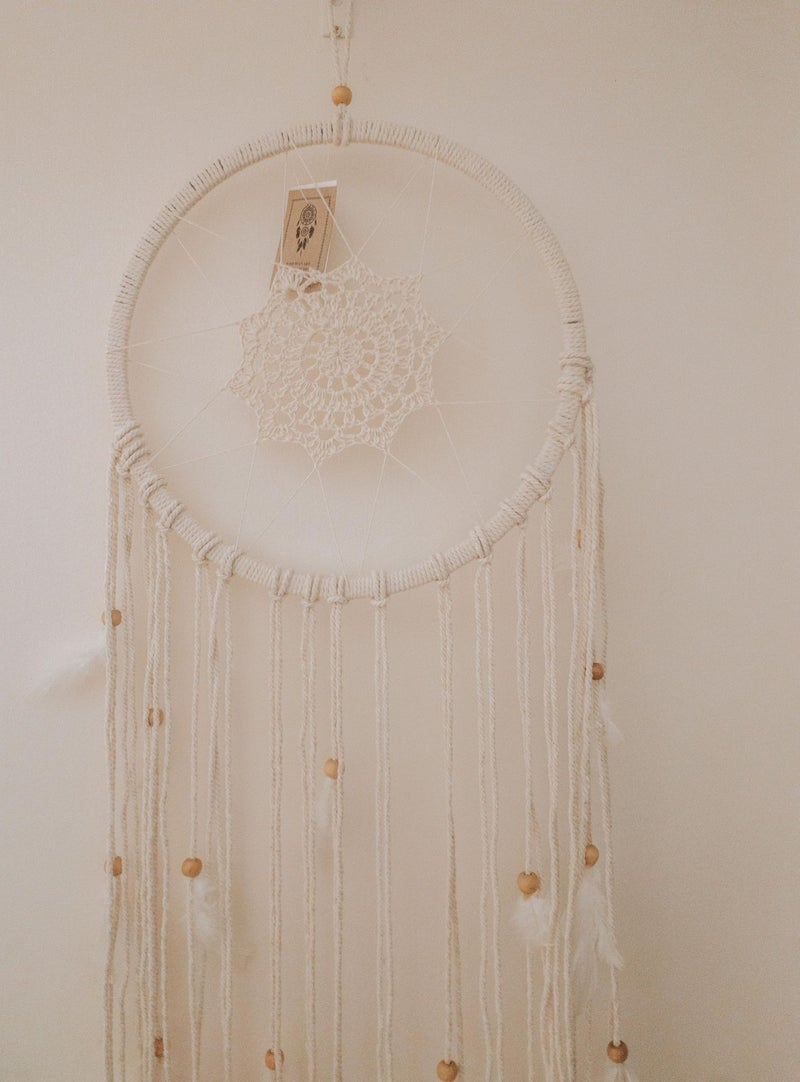 Feathers & Wood Moon Dreamcatcher