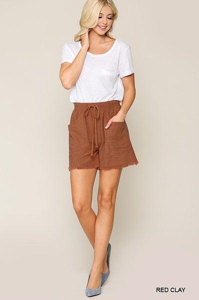 Frayed Hem Cotton Shorts