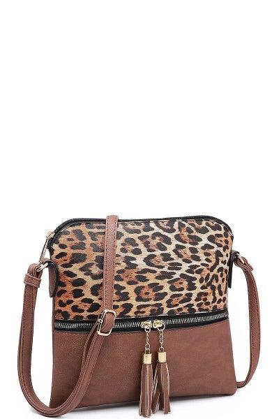 Two Tone Leopard Crossbody Bag