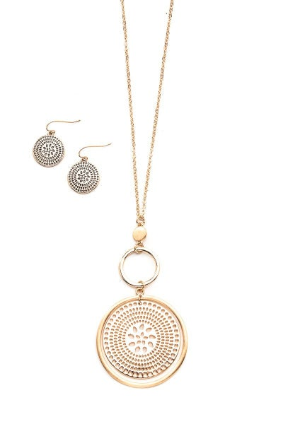 Medallion Coin Necklace & Earrings Set