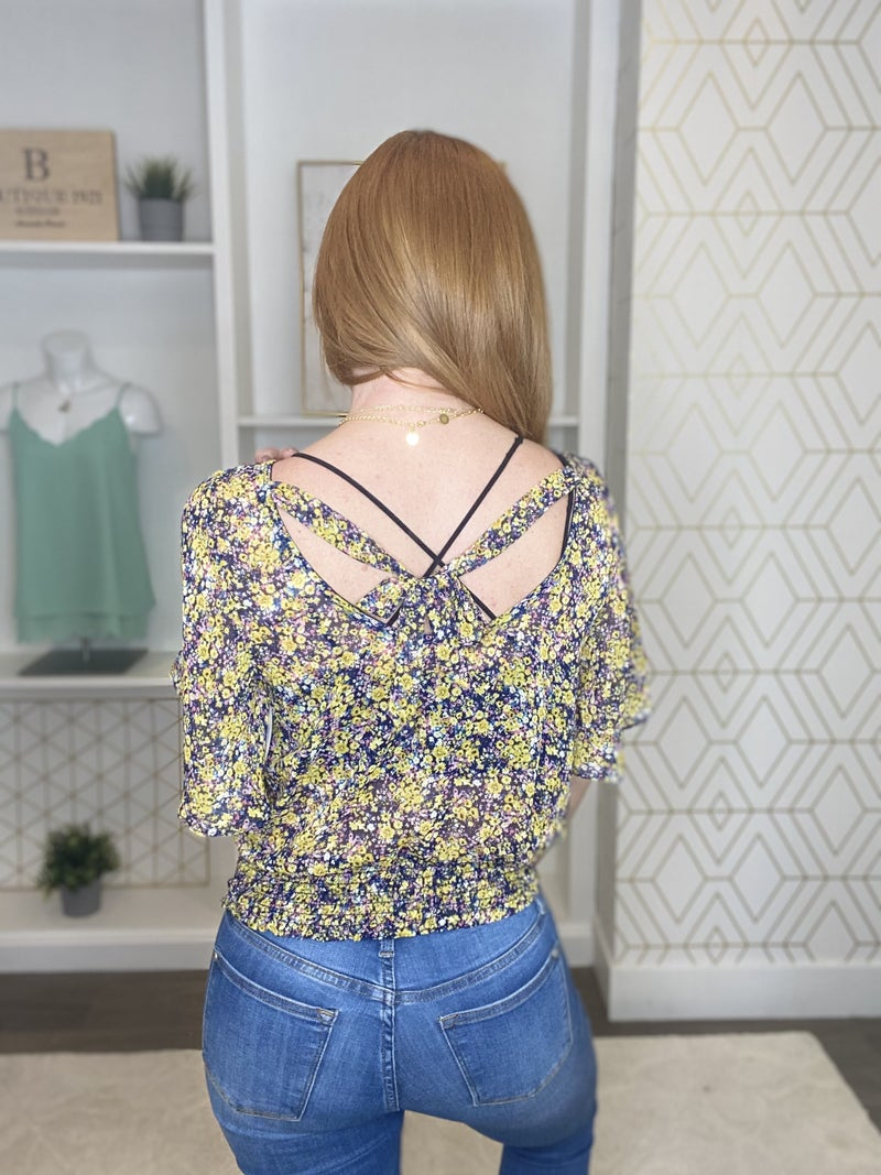 Yellow Floral Crop Blouse