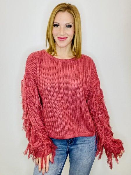 Raspberry Fringe Sleeve Sweater
