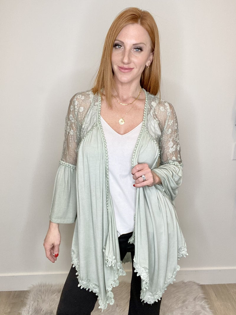 Bell Sleeve Lace Cardigan