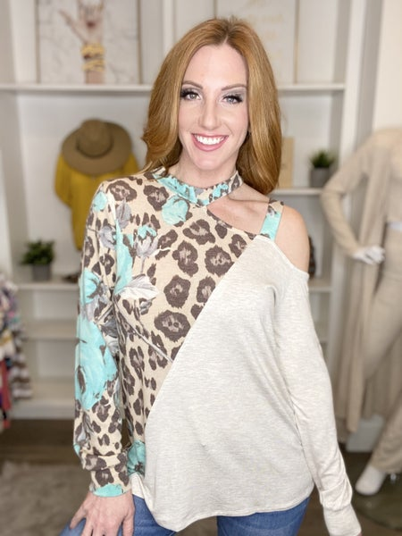 Leopard Floral Cold Shoulder