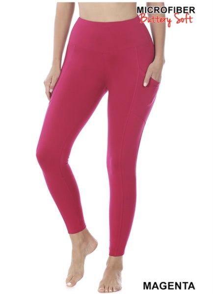 Black Friday Pocket Leggings-Magenta