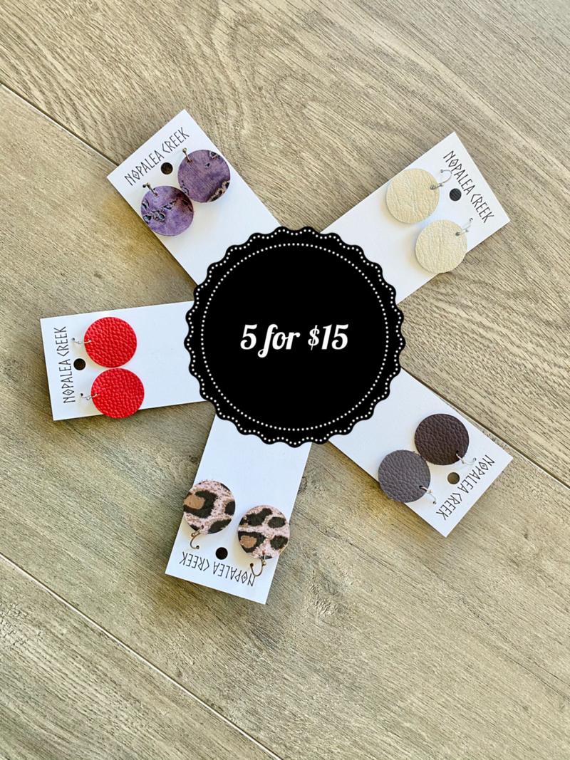 "1"" Mini Disc Leather Random Pack Set of 5"