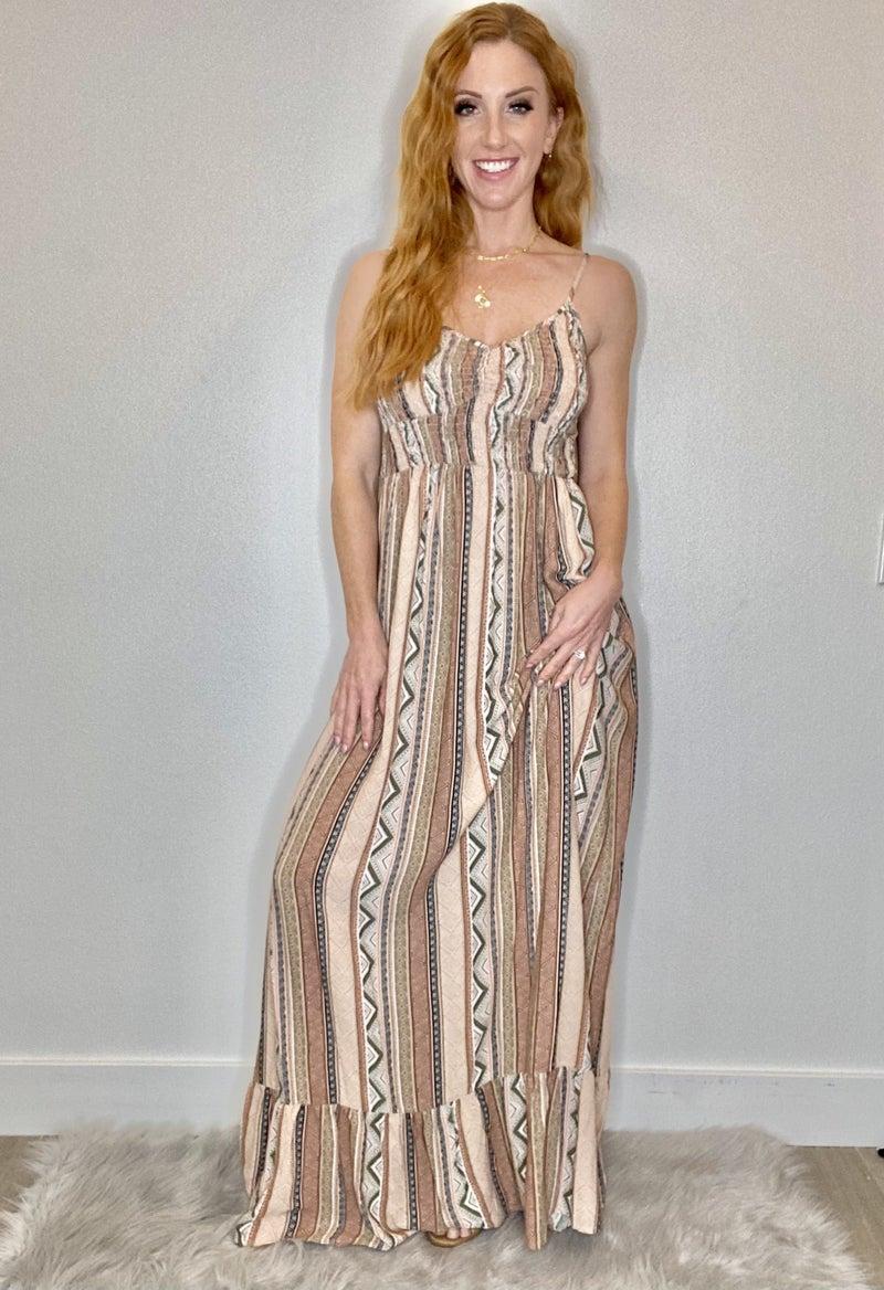 Aztech Print Maxi Dress