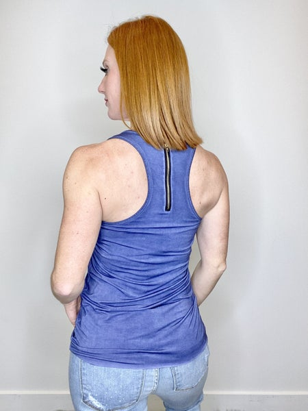 POL Zipper Racer Back Tank