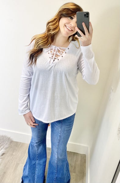 Pointelle Ribbed Laced Top