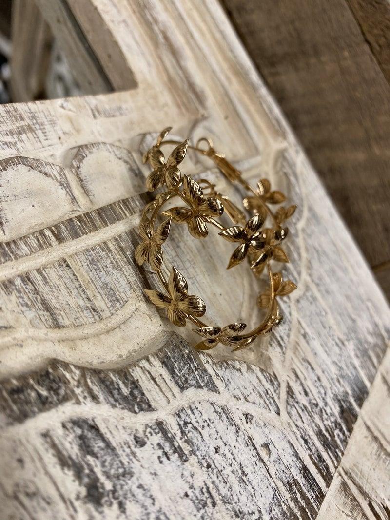 Gold Butterfly Hoops
