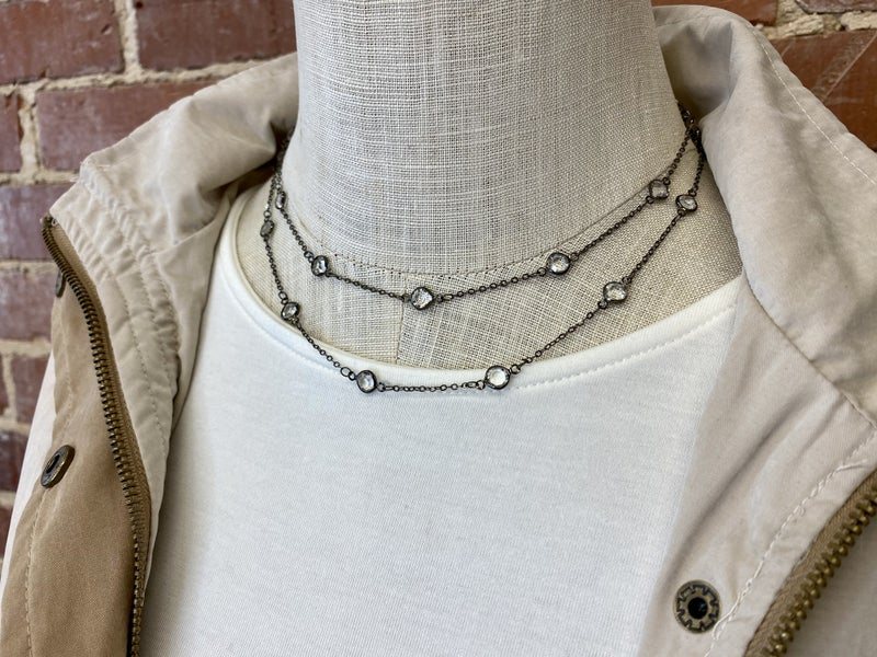 Gunmetal and Sparkle Necklace