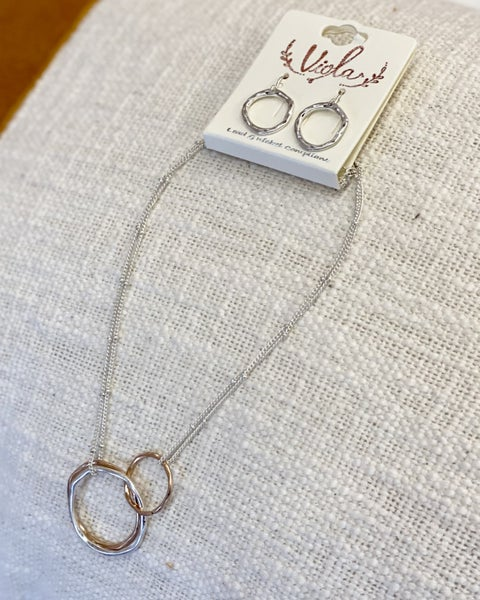 Rings On Rings Necklace and Earring Set