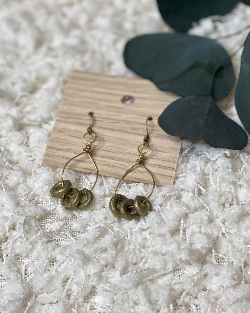 Brass Rings on Rings Earrings