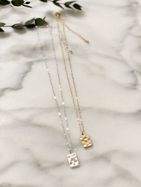Hammered Matte Metal Rectangle Necklace