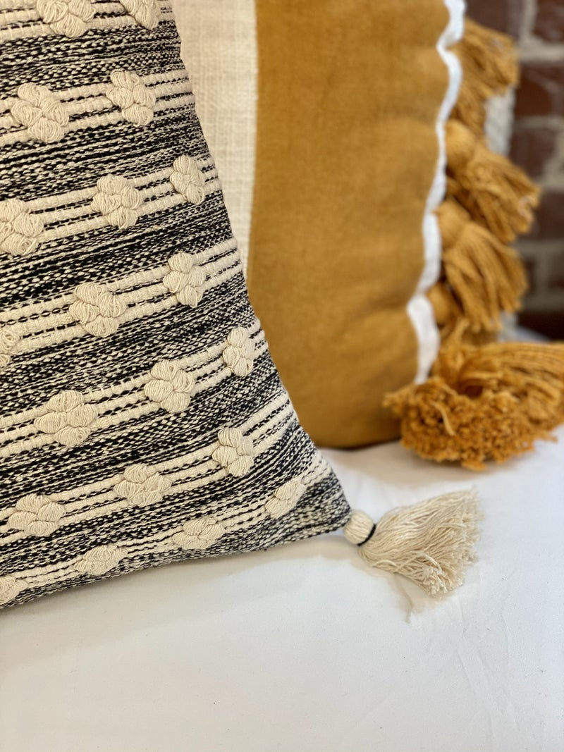 Cream And Black Knotted Pillow