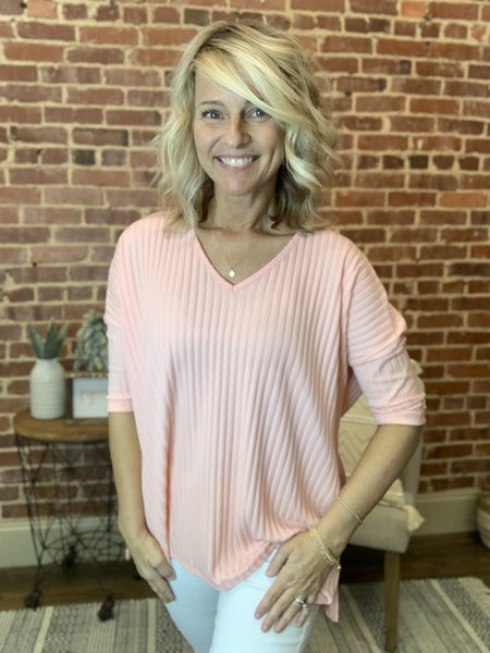 Ribbed Wear Anywhere Top in Peach