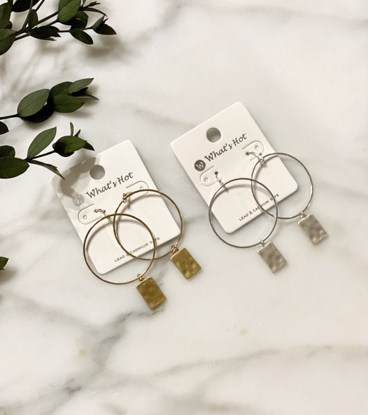 Hammered Metal Rectangle Hoops