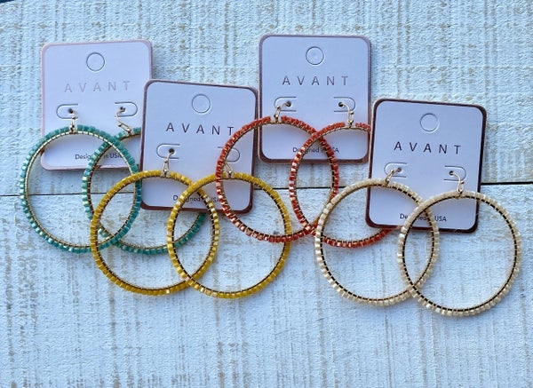 Summer Colors Crystal Wired Hoops