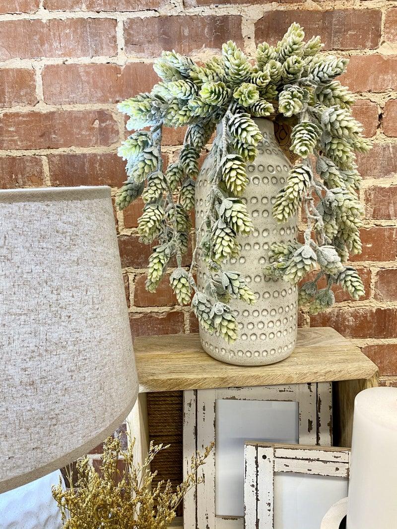 Tall White Dot Vase