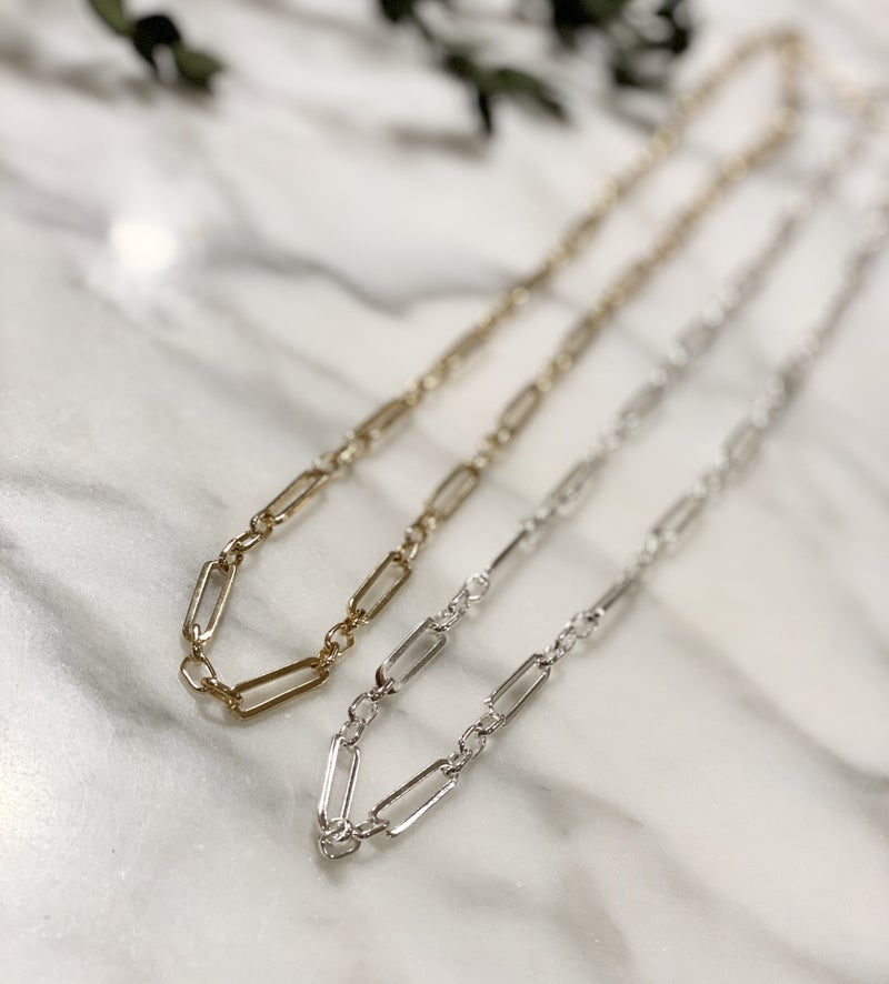 Long Paperclip Chain Necklace