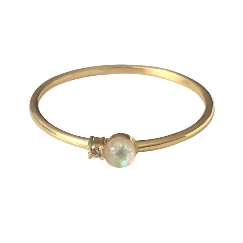 Delicate Opal & CZ Ring