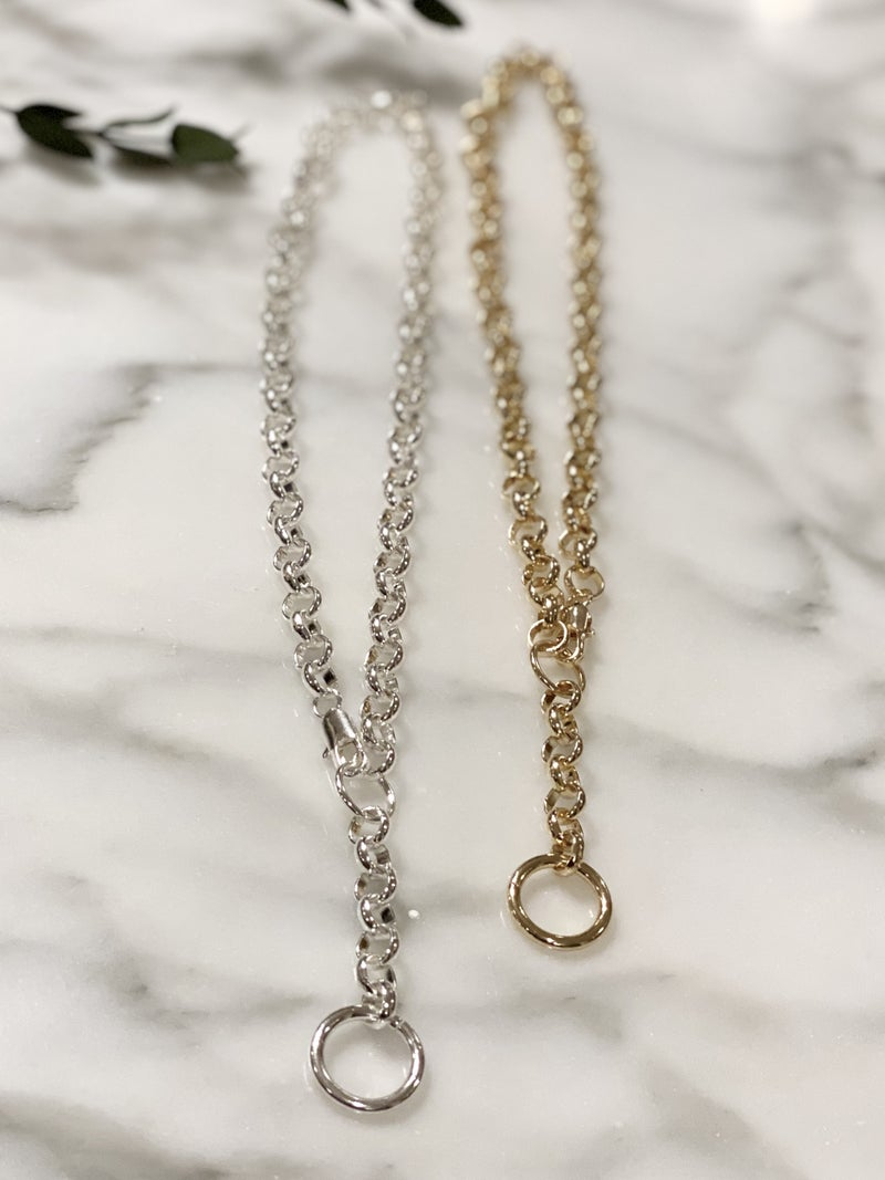Heavy Metal Rolo Chain Ring Drop Lariat Style Necklace