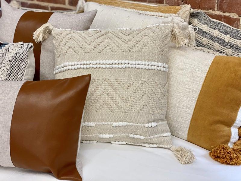 Cream And White Zig Zag Pillow