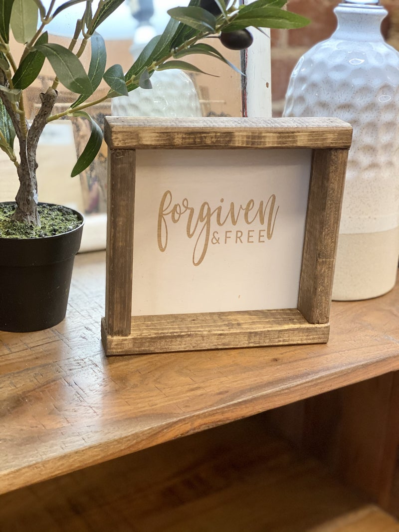 Forgiven & Free Engraved Wood Sign