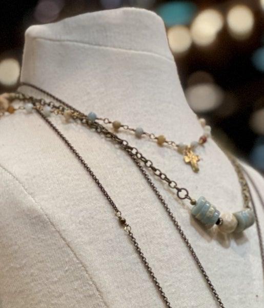 Dainty Stone Tiny Cross Necklace