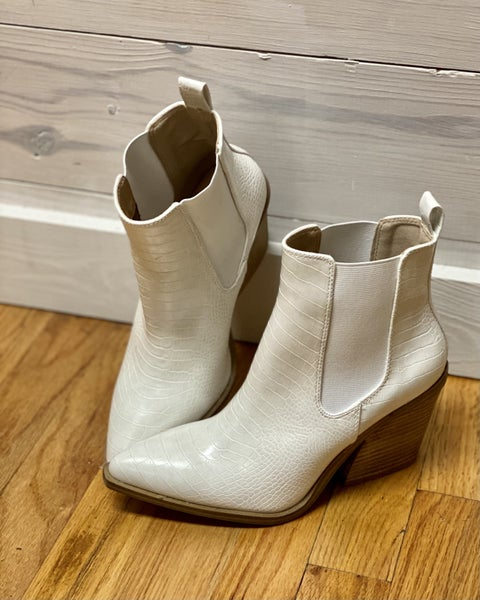 Dolly White Ankle Boots