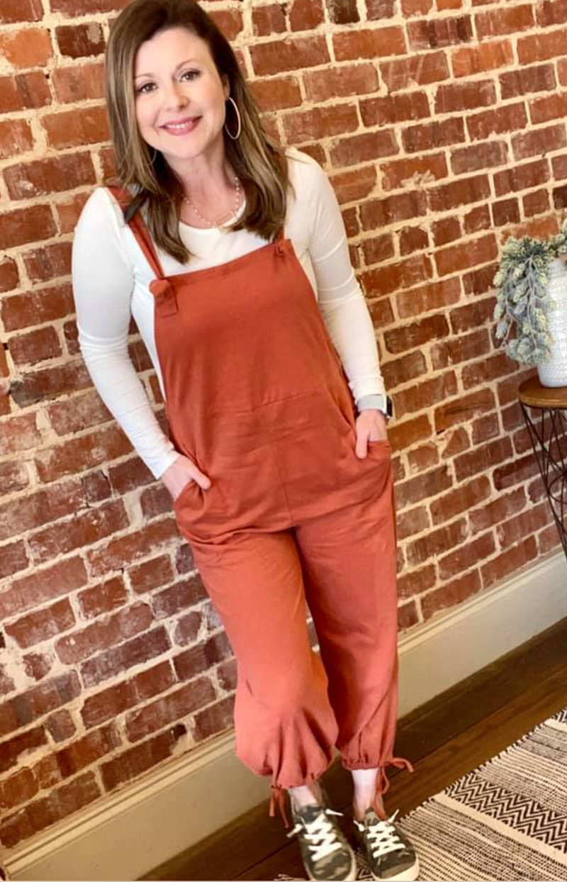 So Sweet Overalls (Dark Coral )