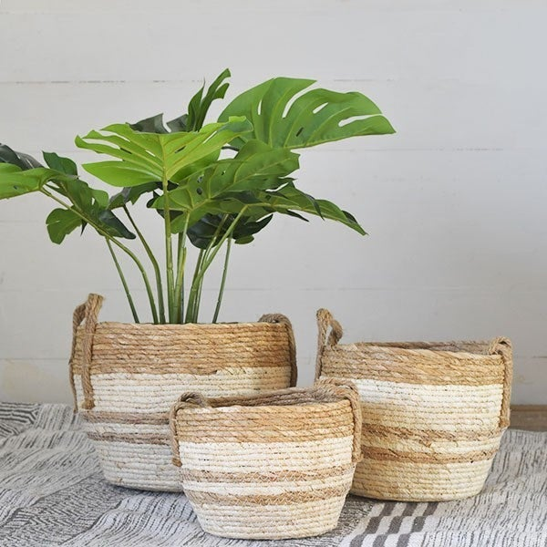 Set of 3 Straw Stripe Baskets