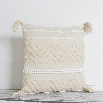 Cream And White Zig Zag Pillow
