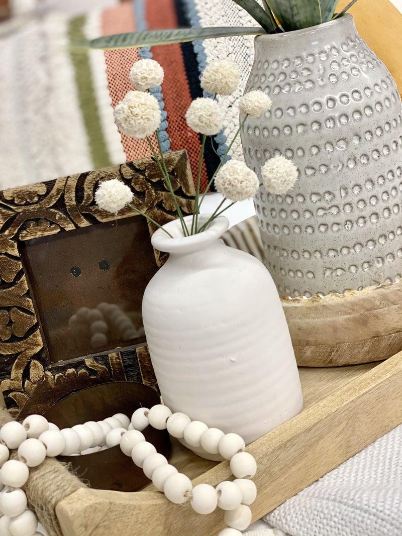 White Windball Vase Flowers