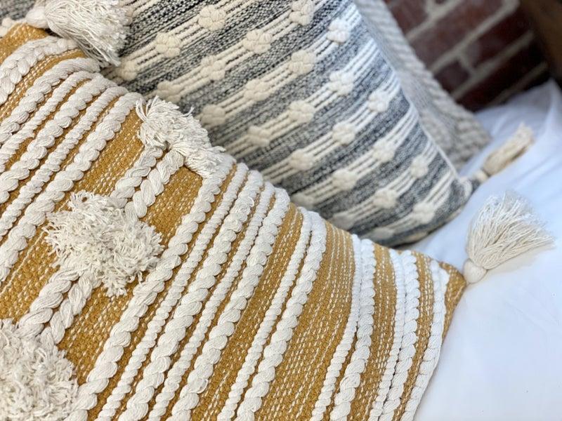 Golden Mustard Blake Yarn Pillow
