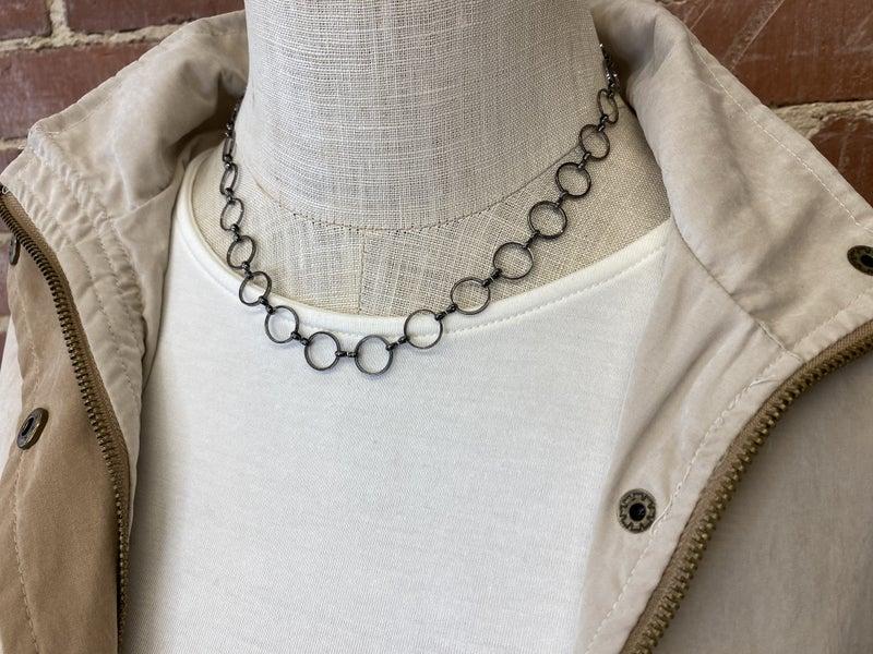 Hoops on Hoops Gunmetal Necklace