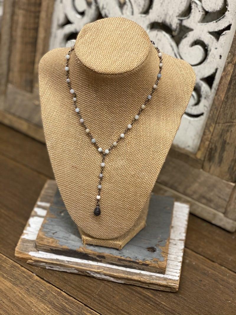 Moonstone Lariat Necklace