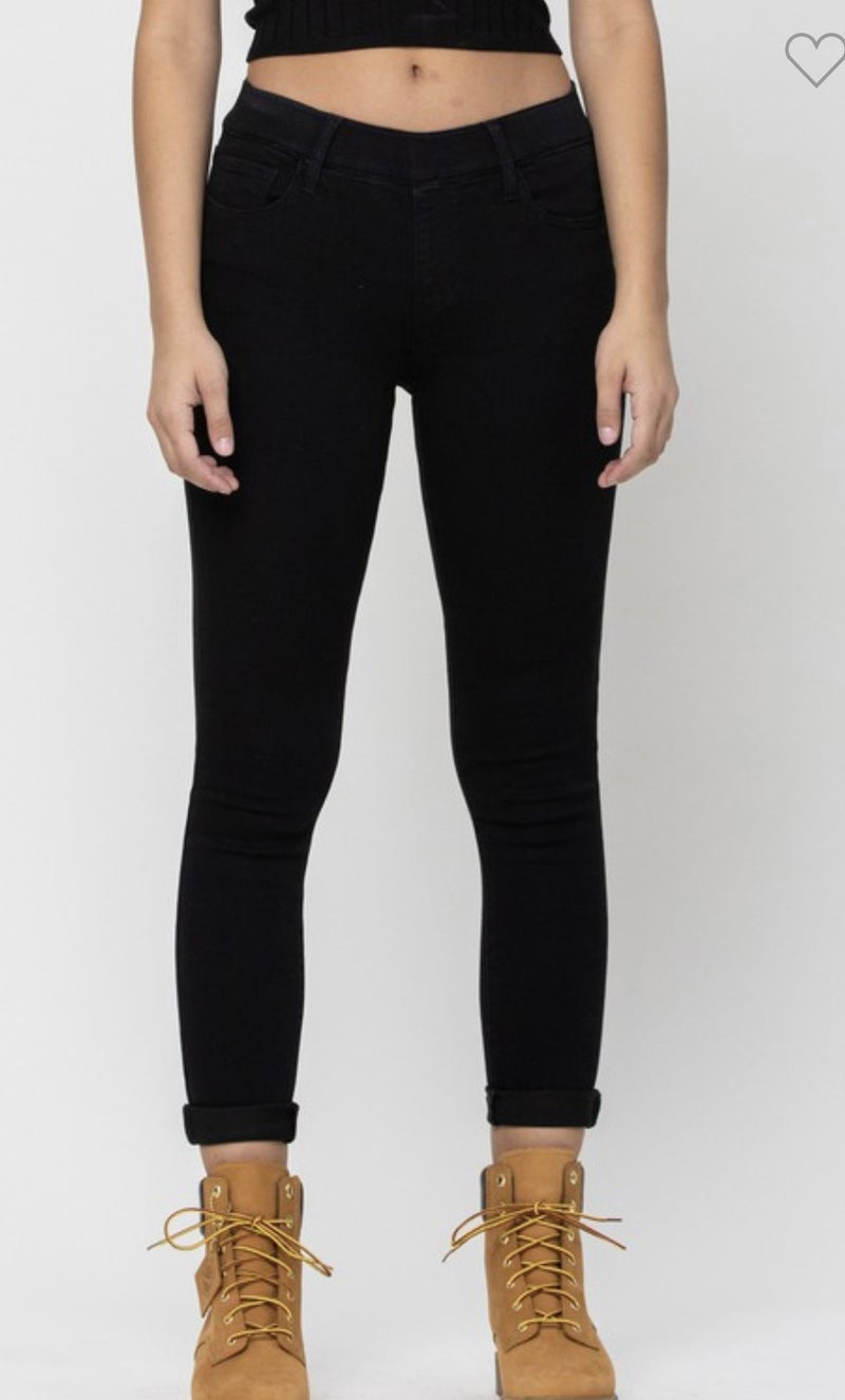 Cello Pull on BLACK Stretch Denim Roll Up Jeans