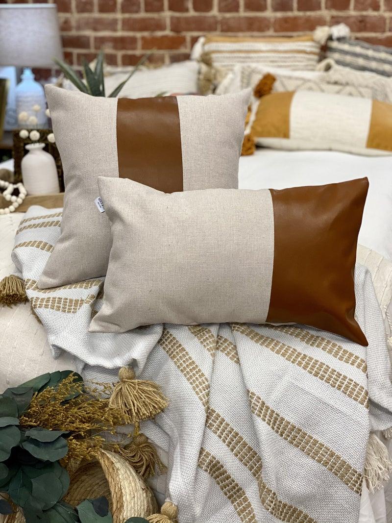 Lumbar Vegan Leather Pillow