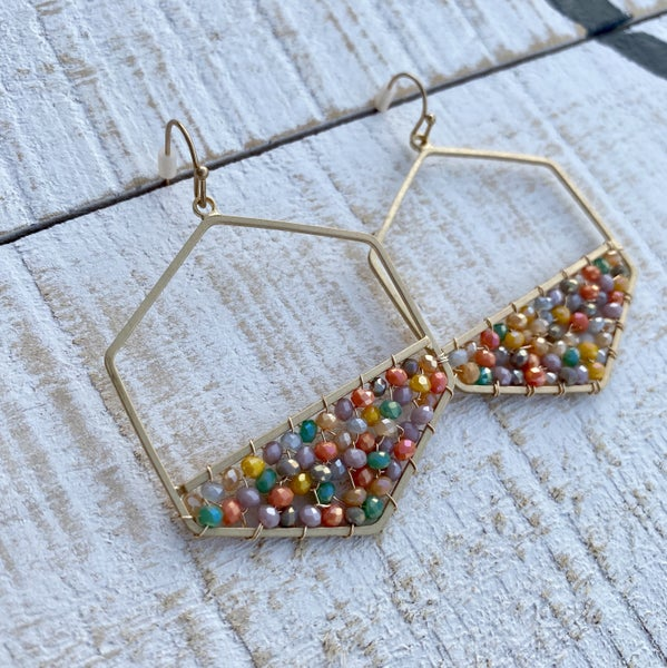 Multi Crystal Wired Hexagon Earrings