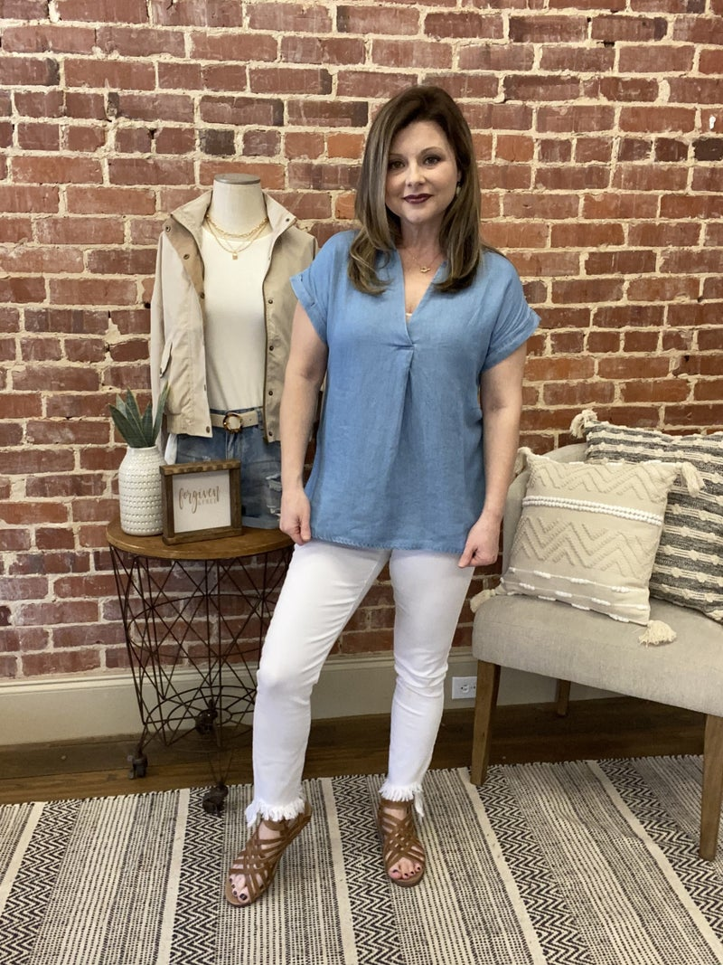 Chambray  Button Back Top