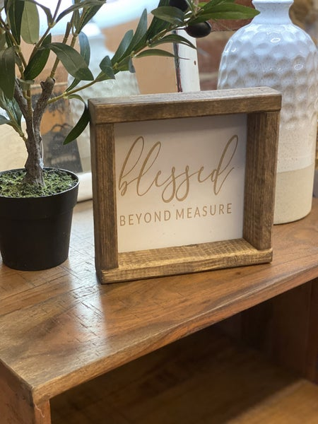 BLESSED beyond measure Engraved Sign