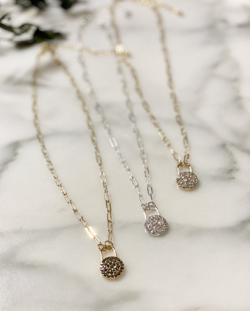 Micro Pave Locket Style Layering Necklace
