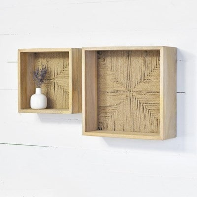 Set Of 2 Wooden Wall Shelves
