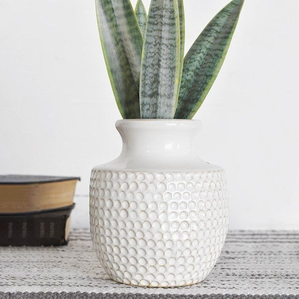White Dimple Vase